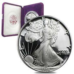 1986-S 1 oz Proof Silver American Eagle (W/Box & COA)