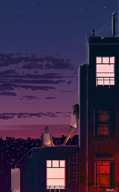 Long Hot Summer Night by Pascal Campion Night Aesthetic, Aesthetic Art, Aesthetic Anime, Pascal Campion, Night Illustration, Cute Couple Art, Night Vibes, Scenery Wallpaper, Summer Nights