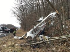 PHOTO Cessna P210N Centurion (N4796P) crashes in Schuylkill County, Pennsylvania following engine problems. Injuring 2. (30-JAN-2017).