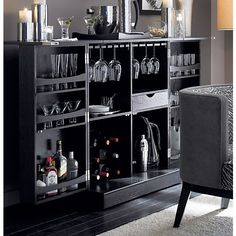 Love this bar, because it closes. Steamer Bar Cabinet in Bar Cabinets Drinks Cabinet, Cabinets For Sale, Wine Cabinets, Storage Cabinets, Bar Furniture, Crate And Barrel, Barrel Bar, Bars For Home, Decoration