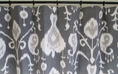 "Pair of rod curtains drapery panels window treatment 25""x84"" Magnolia Home Java Pewter charcoal grey ikat 96"" 108'' 120'' on Etsy, $62.00"