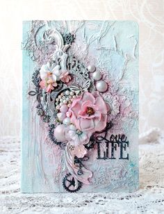 LikeArtStudio by Ola Khomenok: Tender mixed media on a big notebook.mini mixed media piece for TP roll challengeDiscover recipes, home ideas, style inspiration and other ideas to try.A adapter en home décoRomantic - Shabby Chic style journal - noteb Mixed Media Cards, Mixed Media Journal, Mixed Media Artwork, Mixed Media Collage, Mixed Media Scrapbooking, Scrapbooking Layouts, Digital Scrapbooking, Altered Canvas, Altered Art