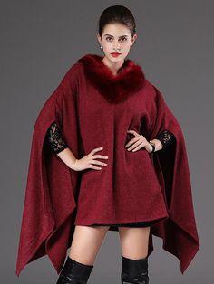 2e2b6449b3cd9 Women Batwing Sleeve Faux Fur Collar Shawl Cloak Coats Faux Fur Collar