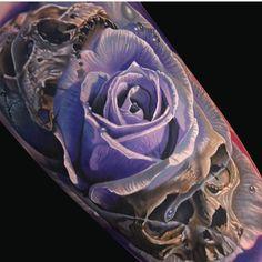 """@inkedmag's photo: """"Great work from @philgarcia805 #inkedmag #inkedgirls #inkedshop #freshlyinked #tattoo #tattoos #art #skull #rose"""""""