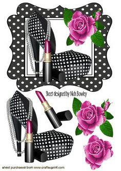 BLACK WHITE POLKA DOT SHOE WITH CERISE ROSES on Craftsuprint - Add To Basket!