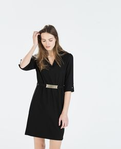 Image 2 of DRESS WITH WAIST DETAIL from Zara