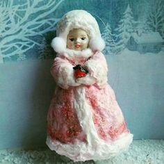 """Коллекционные куклы ручной работы. Ярмарка Мастеров - ручная работа. Купить Продана. Ватная елочная игрушка """" Снегурочка """". Handmade."""