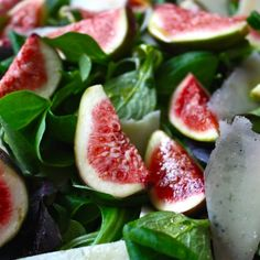 Salad with figs, pecorino, basil andhoney. The rocket this salad calls for is arugula.