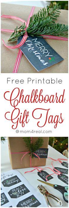 Free Printable Chalkboard Gift Tags for Christmas and Holiday Gifts and Decor