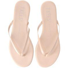 Nude flip flops.