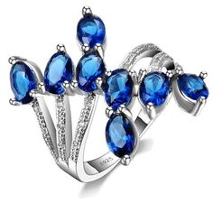 Sterling Silver Stunning Blue Sapphire CZ Ring Sz 6-9