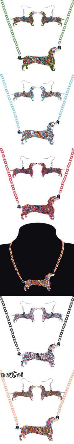 Newei Brand Jewelry Sets Acrylic Statement Dachshund Dog Necklace Earrings Choker Collar Fashion Jewelry For Women Girl