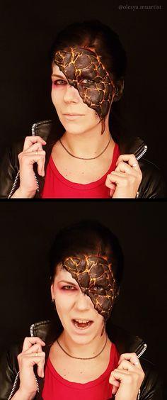 Lava girl makeup by Olesya Hryvenko Sfx Makeup, Costume Makeup, Movie Makeup, Make Up Artis, Horror Makeup, Special Effects Makeup, Illusion Art, Fantasy Makeup, Disney Halloween
