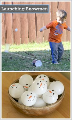 Launching Ping Pong Snowmen with Levers. Play with snowmen in the summer!