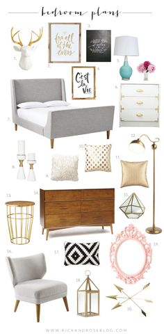 master bedroom boards, wish it was all rose gold but cute none the less