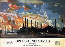 Vintage Railway Poster: LMS British Industries STEEL. A2/A3  Print - 035