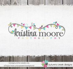 Premade Photography Logo - Bunting Swirls Hearts Logo and Watermark Design Name Text Logo