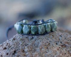 Dark Green Stone & Black Leather Brocelet Unisex Wrap Bracelet