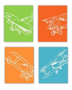 Art for Boys, Airplane art for Kids Rooms, Nursery art Boys, Set of 4-8x10 Prints of airplanes, cute for the aviator room theme.    Choose Your