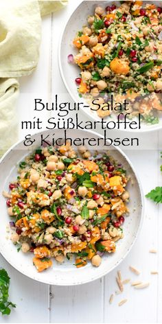 simple recipe for a bulgur salad with sweet potato, chickpeas, . - geburtstagsparty -This simple recipe for a bulgur salad with sweet potato, chickpeas, . Sweet Potato And Chickpea Recipe, Salad With Sweet Potato, Chickpea Recipes, Vegetarian Recipes, Healthy Recipes, Potato Salad, Potato Recipes, Soup Recipes, Salad Recipes