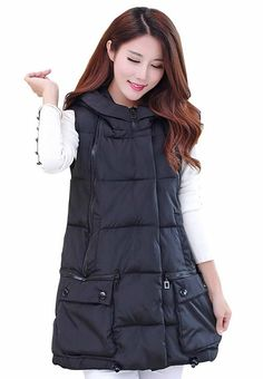 Women's Hooded Vest Winter Zip up Waistcoat Padded Down Sleeveless Long Coat *** This is an Amazon Affiliate link. Want additional info? Click on the image.
