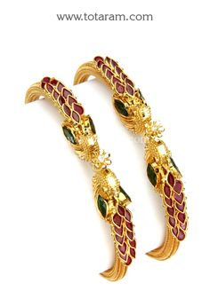 22K Fine Gold 'Peacock' Kada with Ruby , Emerald & Cz - Set of 2 (1 Pair)