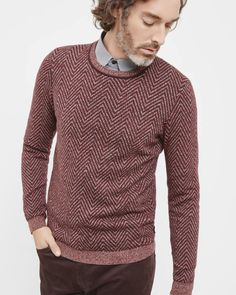 Herringbone crew neck sweater - Dark Red | Sweaters | Ted Baker