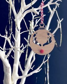 Oak Christmas baubles measuring - in diameter. With a red pom pom nose and red and white striped string for hanging Reindeer Christmas, Christmas Baubles, Christmas Gifts, Wind Chimes, Red And White, Joy, Holiday Decor, Gift Ideas, Jewelry