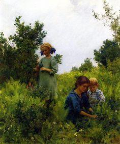 Charles Courtney Curran (Hartford, Kentucky, 1861 - New York, 1942). Blueberries and ferns. 1911.