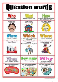 Picture dictionary - Question words worksheet - Free ESL printable worksheets made by teachers english English Grammar For Kids, English Phonics, Learning English For Kids, Teaching English Grammar, English Worksheets For Kids, English Lessons For Kids, Kids English, English Verbs, English Writing Skills