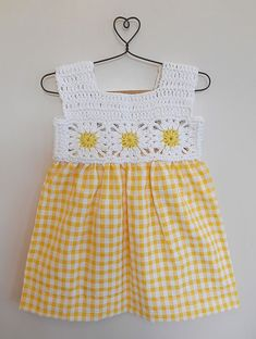 Diy Crafts - Buy Yellow White Check printed Dress with Crochet Yoke Blended Cotton Knitting Kids Dresses/Jumpsuits Fun in the Sun dresses details for Crochet Baby Dress Pattern, Crochet Yoke, Baby Dress Patterns, Crochet Fabric, Baby Girl Crochet, Crochet Baby Clothes, Baby Knitting Patterns, Crochet Patterns, Crochet Hats