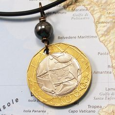 Italy Authentic Coin Necklace   1000 Lire   by WorldTreasure, $22.00