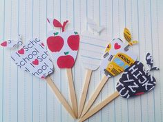 cupcake toppers school decor apple toppers back by SouthernScrappn
