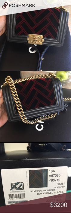 957bee06244b Chanel black and red velvet calf skin boy bag Gold metal chain in great  condition purchased less than a year ago. Used 4 times CHANEL Bags
