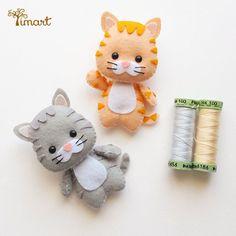 Felt Animal Patterns, Felt Crafts Patterns, Felt Crafts Diy, Stuffed Animal Patterns, Cute Crafts, Chat Crochet, Felt Keychain, Felt Cat, Felt Fabric