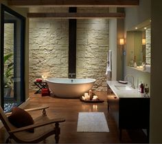 Love this warm bathroom