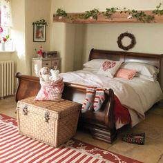 lovely warm inviting bedroom - could definitely get cozy with a mug of chocolate in here!