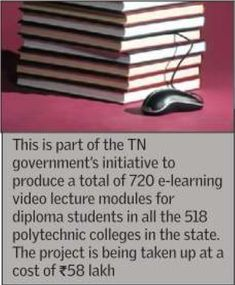 State higher education minister K P Anbalagan on Wednesday launched e-learning video lecture modules for polytechnic students in the state. The students can access these modules on the `TN DOTE' YouTube channel.  This is part of the TN government's initiative to produce a total of 720 e-learning video lecture modules for diploma students in all the 518 polytechnic colleges in the state.