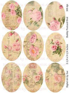 Shabby Postcard Ovals   Printable Digital  by CountryAtHeart2008, $4.99
