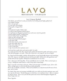 Best Meatball recipe ever from Lavo
