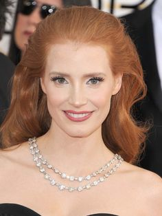 Red carpet favourite Jessica Chastain wore a platinum and diamond necklace, circa 1930, from Bulgari's Heritage Collection to the Golden Globes 2014. Image: Steven Granitz/Wire Image