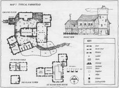 Typical Farmstead farmhouse farm architecture map cartography | Create your own roleplaying game material w/ RPG Bard: www.rpgbard.com | Writing inspiration for Dungeons and Dragons DND D&D Pathfinder PFRPG Warhammer 40k Star Wars Shadowrun Call of Cthulhu Lord of the Rings LoTR + d20 fantasy science fiction scifi horror design | Not Trusty Sword art: click artwork for source