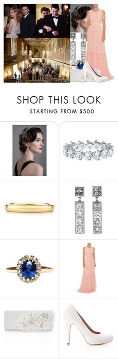 """Attending the wedding reception of Lady Rose and Lord George Wellesley at Chatsworth House"" by lady-maud ❤ liked on Polyvore featuring Elsa Peretti, Needle & Thread, Oscar de la Renta and dining room"