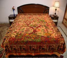 Cotton Double Tie-Dye Tree of Life Print Orange Color Bedsheet Bedcover Bedding #Uttam #Transitional