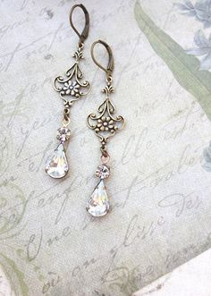 Long Earrings Vintage Glass Antique Gold Brass by apocketofposies