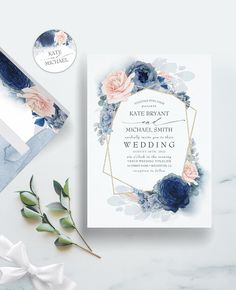 Dusty blue hydrangea, navy blue rose, peachy blush pink peony and gold foil glitter geometric frame elegant wedding invitation for winter or summer two souls union. Blue And Blush Wedding, Dusty Rose Wedding, Dusty Blue Weddings, Blue Roses Wedding, Blush Weddings, Summer Weddings, Destination Weddings, Blush Wedding Invitations, Wedding Invitation Suite