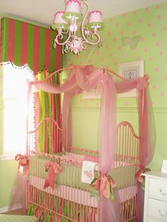 Adorable nursery and window treatment.