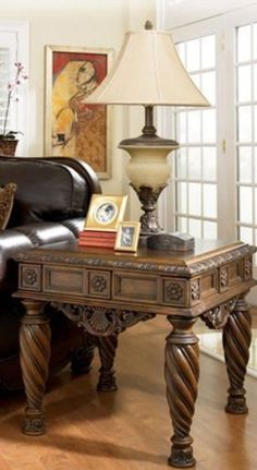 Ornate table- cream light up lamp base