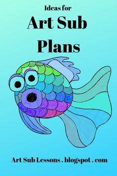 Funky Fish Idea for an Art Sub Plan – Janet Johnson – Art Sub Lessons – art therapy activities Chuck Close Art, Color Art Lessons, Art Lessons For Kids, Kindergarten Art Lessons, Art Lessons Elementary, Elementary Teaching, Art Sub Plans, Art Lesson Plans, Mandala Art