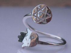 Hamsa Ring & Star of David Ring Sterling Silver